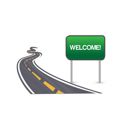 Street road and welcome sign symbol vector
