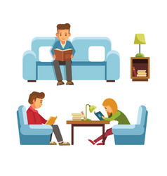 students children in library reading books people vector image