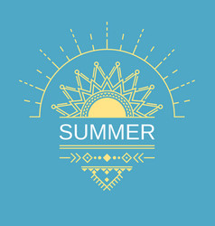 Summer poster card banner in geometric ethnic vector
