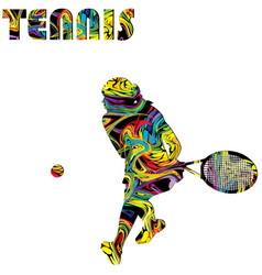 tennis poster with colorful silhouette a woman vector image