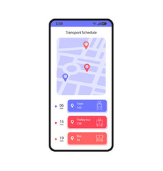 Transport schedule smartphone interface template vector