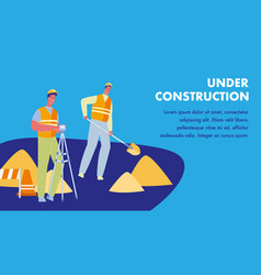 Under construction flat web banner with text space vector