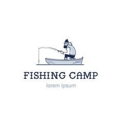 vintage fishing emblem or logo the fisherman is vector image