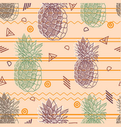 Vintage tribal pineapples background vector