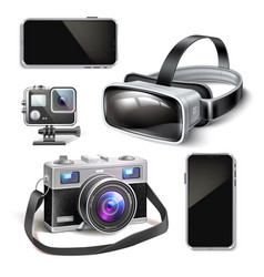 virtual reality headset air quad drone vector image