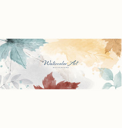 Watercolor abstract autumn background with maple vector