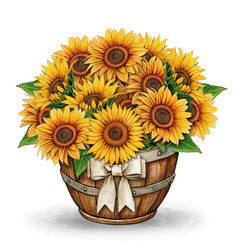 Watercolor sunflower rustic country decoration vector
