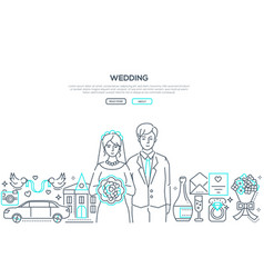 wedding - line design style banner with place vector image