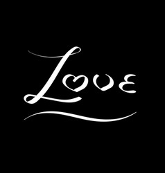White curve hand writing love word vector