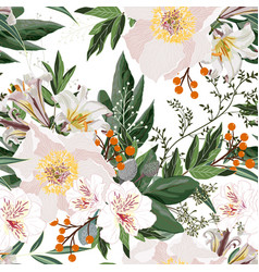 wide seamless floral background pattern vector image