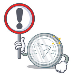 With sign tron coin character cartoon vector