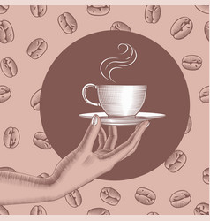 Womans hand holding a coffee cup vector