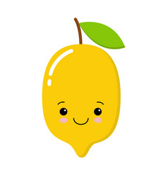 yellow cute lemon icon isolated on vector image