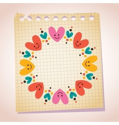 Cute hearts frame note paper cartoon vector