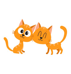 two cute and funny curious cuddling red cat vector image vector image