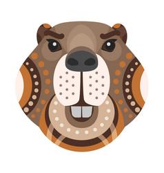 beaver head logo decorative emblem vector image