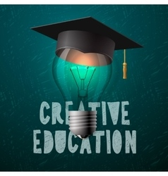 Creative education design bulb with mortarboard vector image vector image
