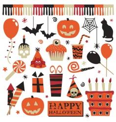 Halloween party elements vector