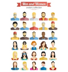 Set of Men and Women Avatars Icons Colorful Male vector image vector image