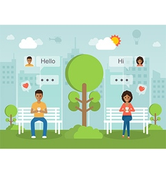 social network with smartphone vector image