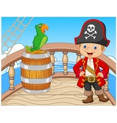 Cartoon pirate on the ship with green parrot vector image