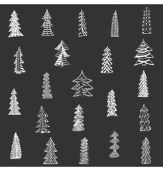 Doodle Christmas Tree Set on black Background vector image vector image