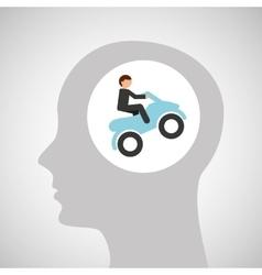 head silhouette atv rider extreme sport vector image