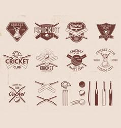 set of retro cricket sports template logo designs vector image