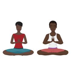 african american couple yoga vector image vector image