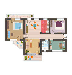 architectural flat plan top view with living rooms vector image