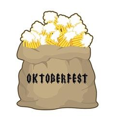 Big sack with mug beer for Oktoberfest Gift for vector image vector image