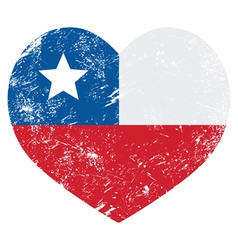 Chile retro heart shaped flag vector image vector image