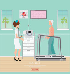ecg test or exercise stress test for heart vector image