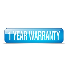 1 year warranty blue square 3d realistic isolated vector