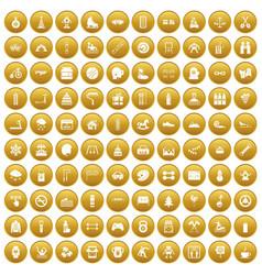 100 children activities icons set gold vector