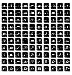 100 media icons set grunge style vector image