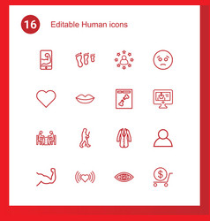 16 human icons vector image