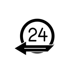 24 hours service black icon sign on vector image