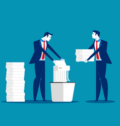 a businessman is shredding important documents vector image