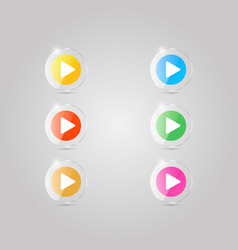 a set of colored glass icons of the player vector image