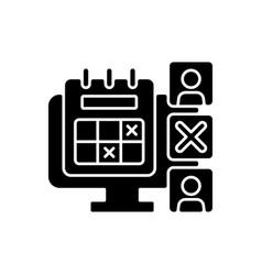 Absence calendar black glyph icon vector