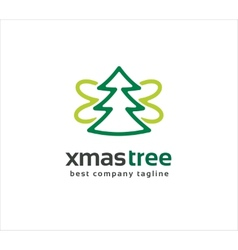 Abstract xmas tree with wings logo icon concept vector image