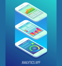 Analytics app concept flat isometric vector