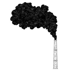 artistic drawing of smokestack industry or vector image