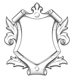 baroque shield drawing vector image
