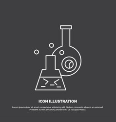 beaker lab test tube scientific icon line symbol vector image