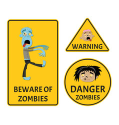 Beware of zombies warning stickers set vector
