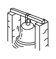 big bell icon doodle hand drawn or outline icon vector image