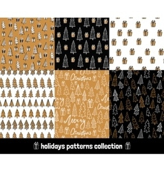 Big holiday hand drawn patterns set Collection of vector image