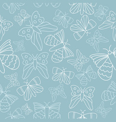blue and white butterflies seamless pattern vector image